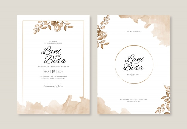 Plantilla de invitación de boda hermosa con acuarela floral y splash Vector Premium