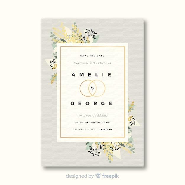Plantilla de invitación de boda hermosa en diseño plano vector gratuito