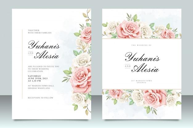 Plantilla de invitación de boda con hermosas flores y hojas Vector Premium