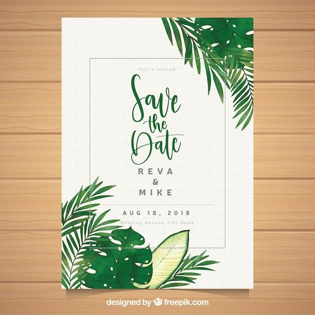 Plantilla de invitación de boda con hojas en acuarela vector gratuito