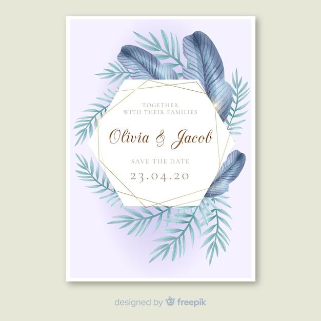 Plantilla de invitación de boda con hojas de palmera vector gratuito