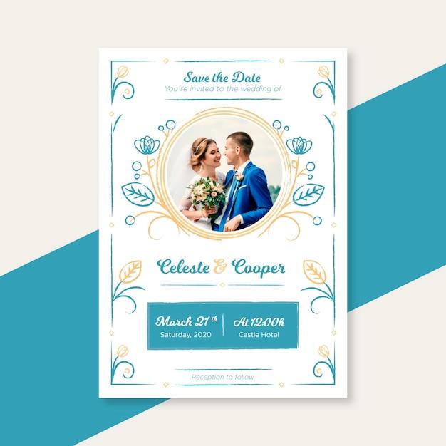 Plantilla de invitación de boda con imagen vector gratuito