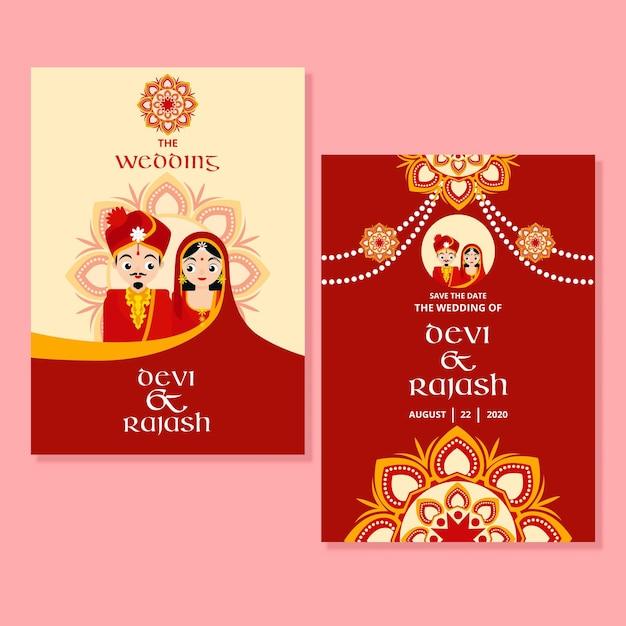Plantilla de invitación de boda india Vector Premium