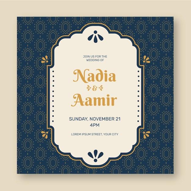Plantilla de invitación de boda india vector gratuito