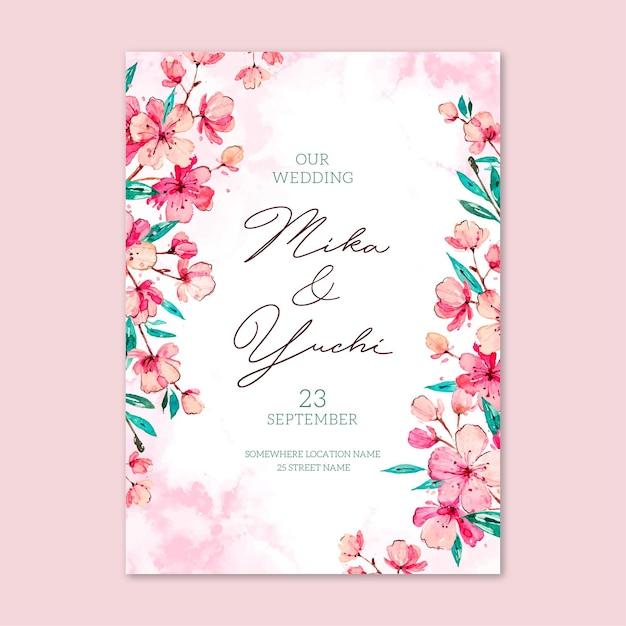 Plantilla de invitación de boda japonesa floral vector gratuito