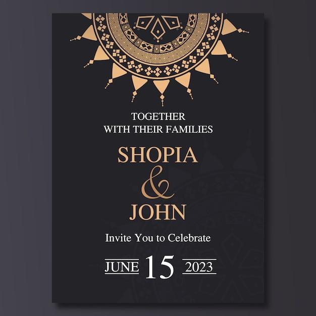 Plantilla de invitación de boda de lujo con el ornamento de la mandala. Vector Premium