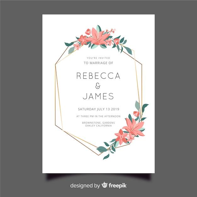 Plantilla de invitación de boda marco floral vector gratuito