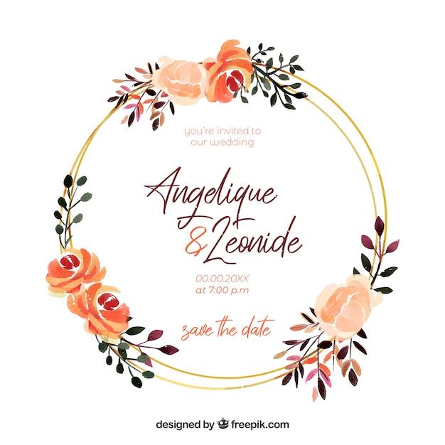 Plantilla de invitación de boda con marco floral vector gratuito