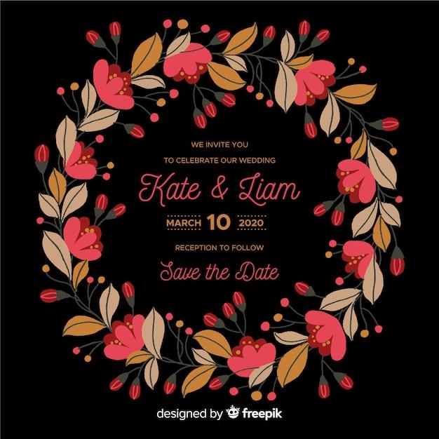 Plantilla de invitación de boda con marco de flores vector gratuito