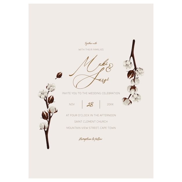 Plantilla de invitación de boda minimalista. Vector Premium
