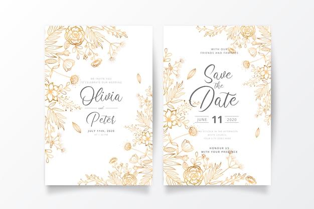Plantilla de invitación de boda con naturaleza dorada vector gratuito