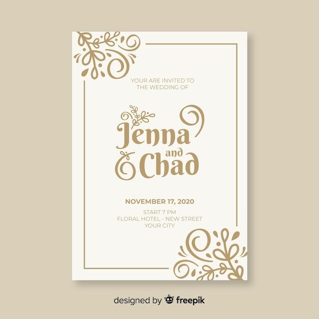 Plantilla de invitación de boda ornamental vintage vector gratuito