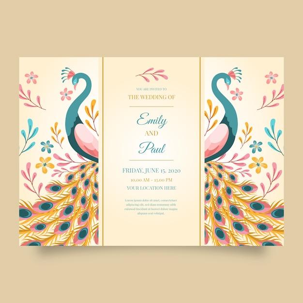 Plantilla de invitación de boda con un pavo real vector gratuito