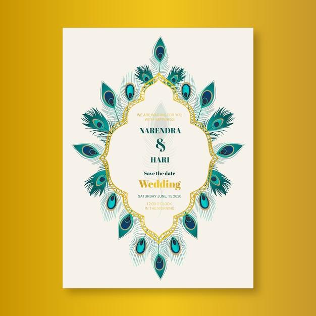 Plantilla de invitación de boda con plumas de pavo real vector gratuito