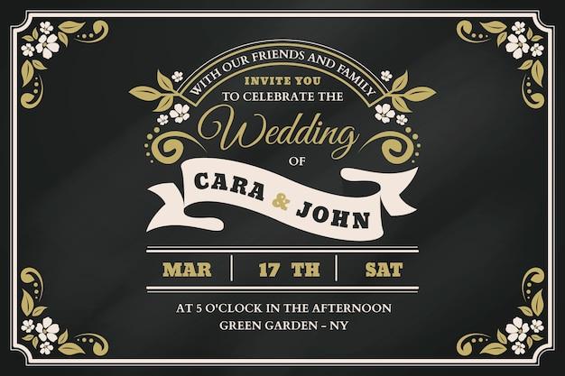 Plantilla de invitación de boda retro en pizarra vector gratuito