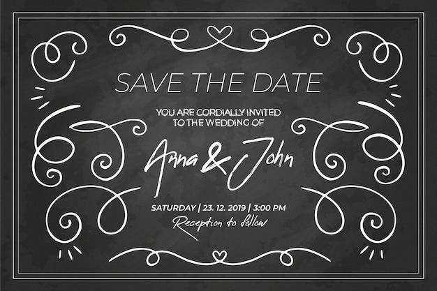 Plantilla de invitación de boda retro pizarra vector gratuito