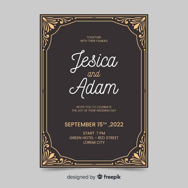 Plantilla de invitación de boda retro vector gratuito