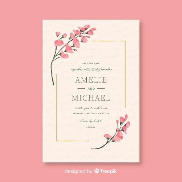 Plantilla de invitación de boda rosa en diseño plano vector gratuito