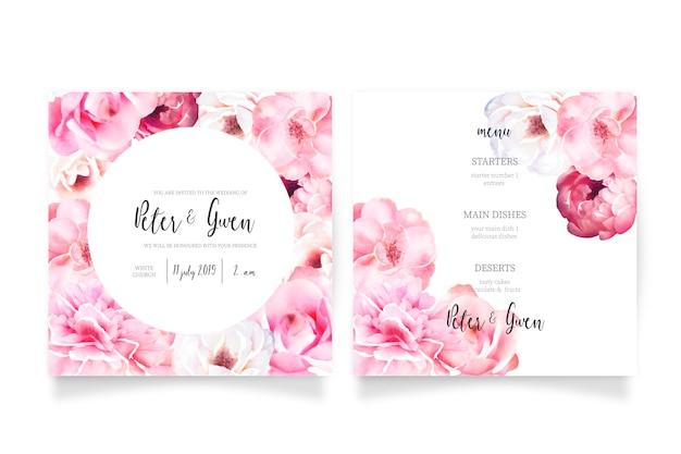 Plantilla de invitación de boda rosa suave con menú vector gratuito