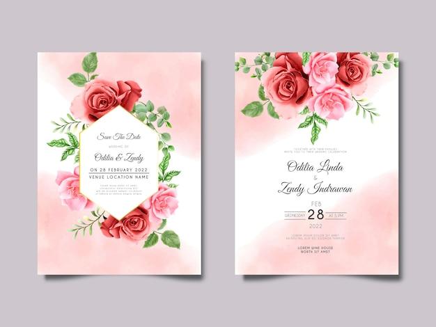 Plantilla de invitación de boda de rosas rosadas y granates Vector Premium