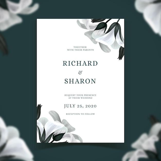 Plantilla de invitación de boda con tema de flores vector gratuito