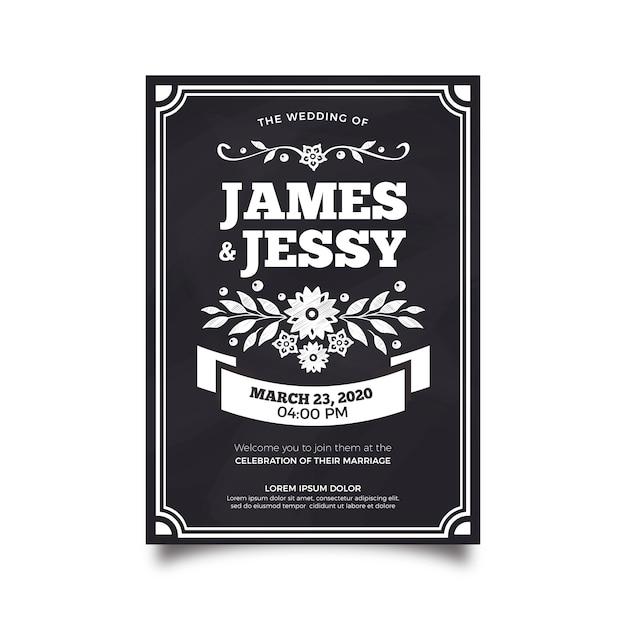 Plantilla de invitación de boda vintage en blackboar vector gratuito