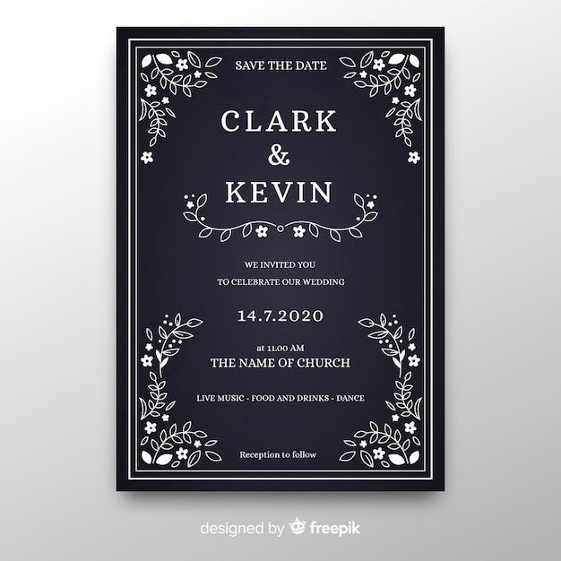 Plantilla de invitación de boda vintage en pizarra vector gratuito