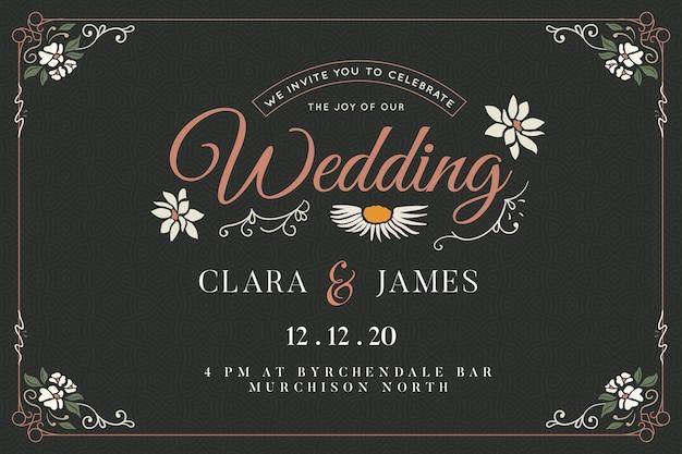 Plantilla de invitación de boda vintage vector gratuito