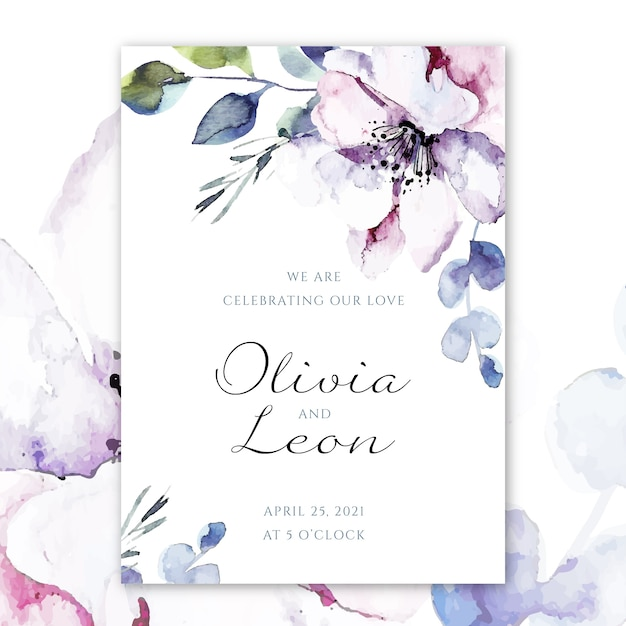 Plantilla de invitación de boda vector gratuito