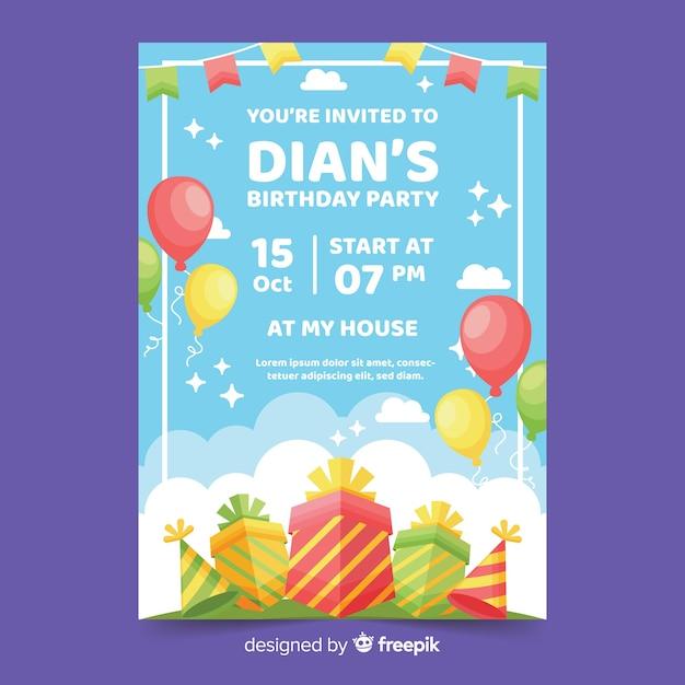 Plantilla de invitación de cumpleaños colorido diseño plano vector gratuito