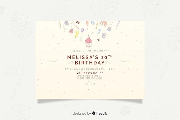 Plantilla de invitación de cumpleaños dibujada a mano vector gratuito