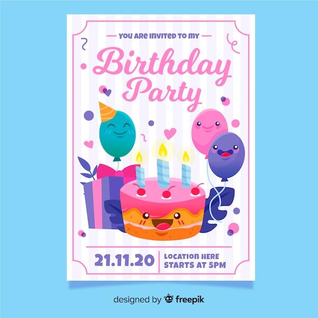Plantilla de invitación de cumpleaños dibujado a mano colorido vector gratuito