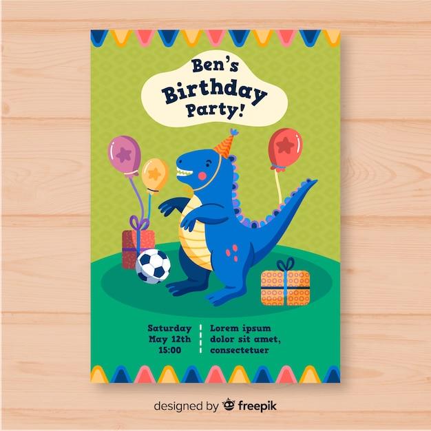 Plantilla de invitación de cumpleaños dibujado a mano vector gratuito