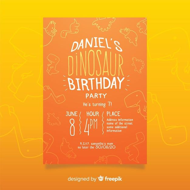 Plantilla de invitación de cumpleaños de dinosaurio con fondo de doodle vector gratuito