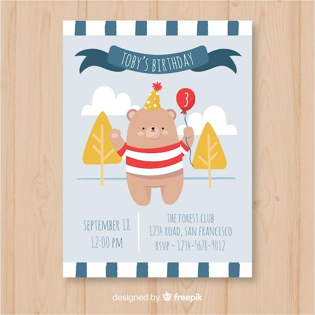 Plantilla de invitación de cumpleaños en estilo dibujado a mano vector gratuito