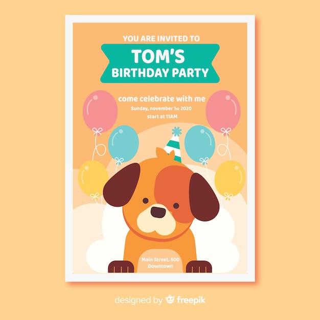 Plantilla de invitación de cumpleaños en estilo plano vector gratuito