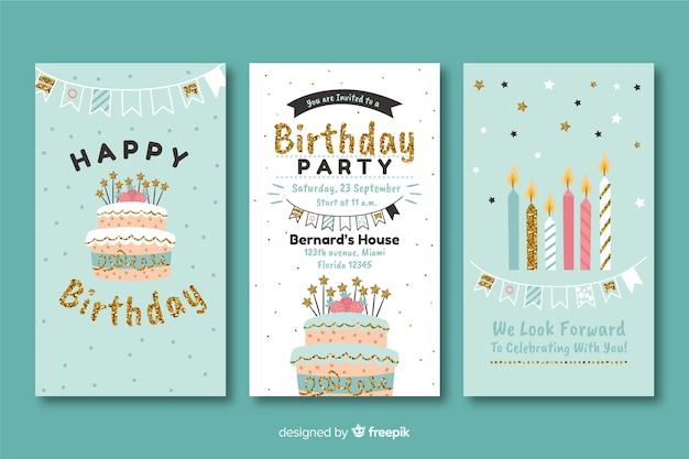 Plantilla de invitación de cumpleaños en estilo plano Vector Premium