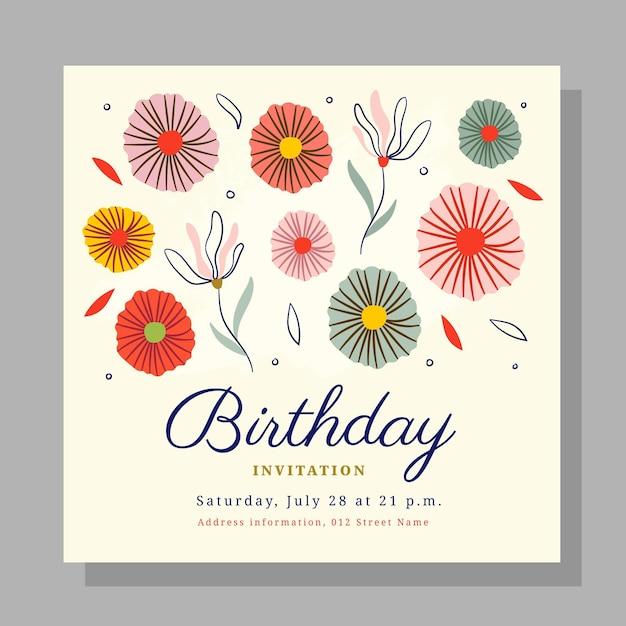Plantilla de invitación de cumpleaños floral vector gratuito