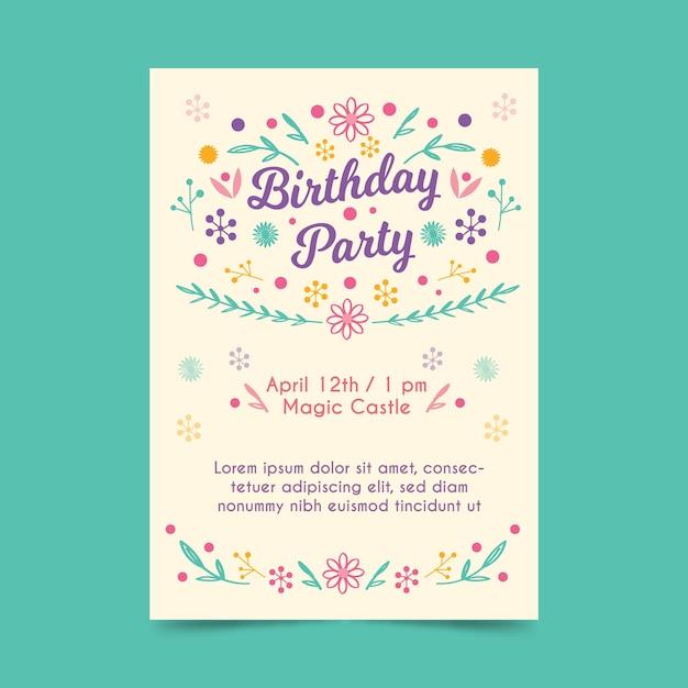 Plantilla de invitación de cumpleaños con flores vector gratuito