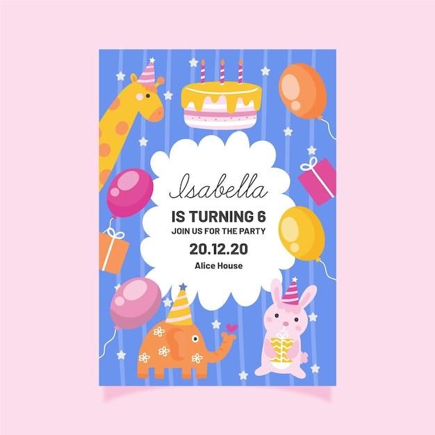 Plantilla de invitación de cumpleaños para niños con animales vector gratuito