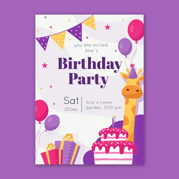 Plantilla de invitación de cumpleaños para niños con jirafa vector gratuito