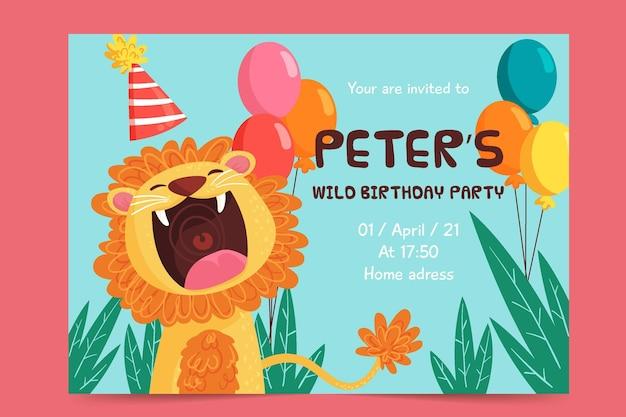 Plantilla de invitación de cumpleaños para niños león vector gratuito