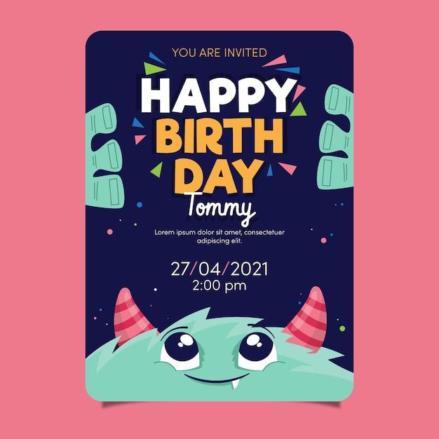 Plantilla de invitación de cumpleaños para niños con monstruo vector gratuito