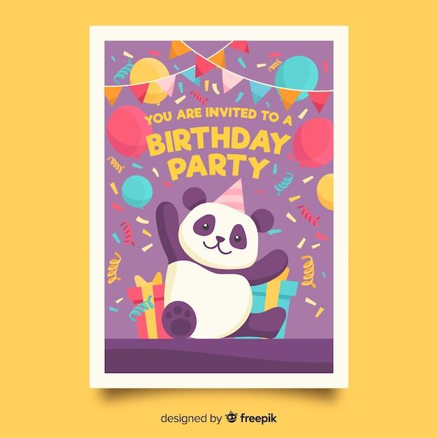 Plantilla de invitación de cumpleaños para niños con oso panda vector gratuito