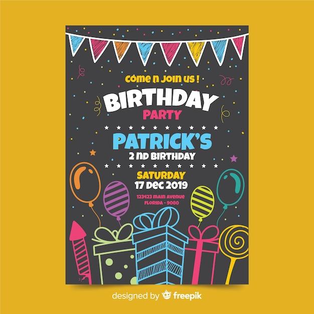 Plantilla de invitación de cumpleaños para niños Vector Premium