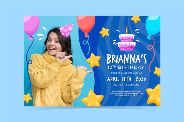 Plantilla de invitación de cumpleaños para niños vector gratuito