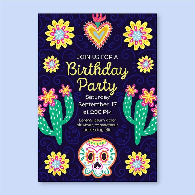 Plantilla de invitación de cumpleaños de viva mexico vector gratuito
