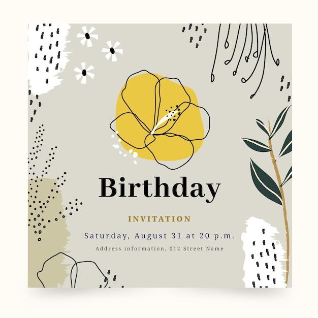 Plantilla de invitación de cumpleaños Vector Premium