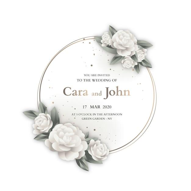 Plantilla de invitación de diseño de marco de boda vector gratuito