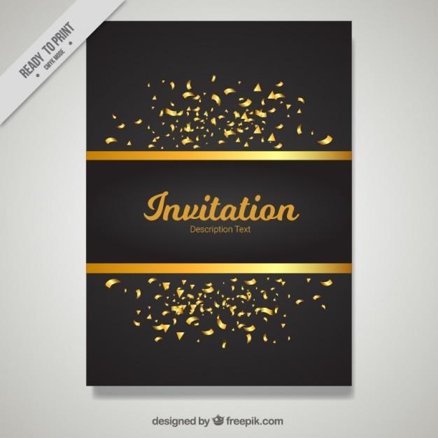 Plantilla De Invitación Dorada Y Negra Vector Gratis